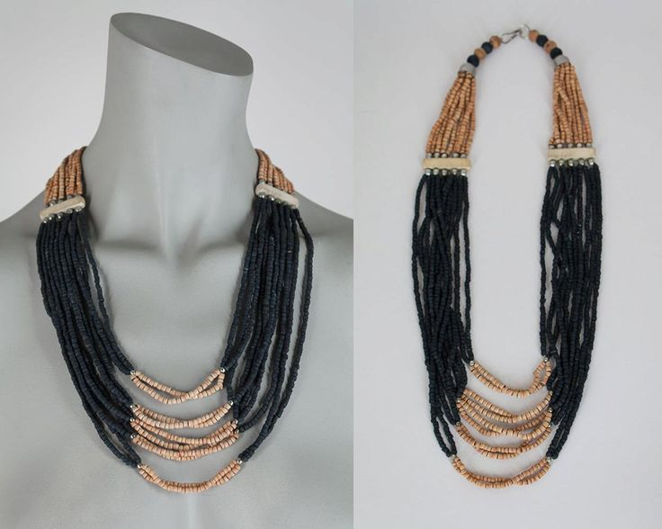 Vintage 70s Necklace / 1970s Black and Brown Wood Bead Multi Strand Necklace by FloriaVintage on Etsy