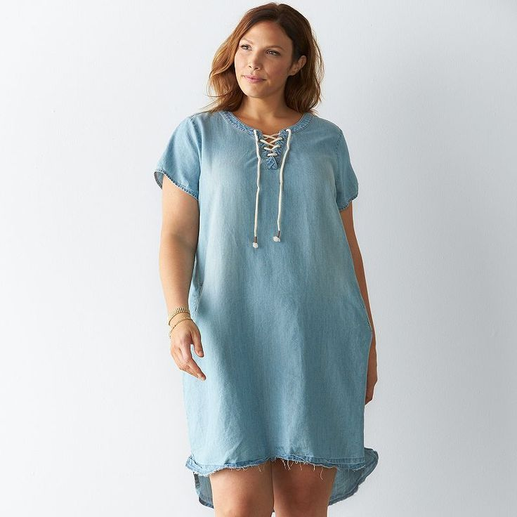Plus Size SONOMA Goods for Life™ Release Hem Chambray Shirtdress, Women's, Size: 20 W, Light Blue