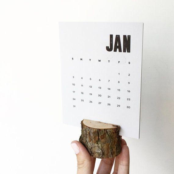 2016 Desk calendar with wooden stump stand ...so cute!!!
