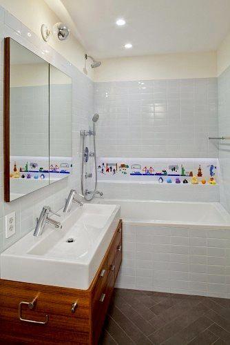Kids' bathroom, like the large double sink