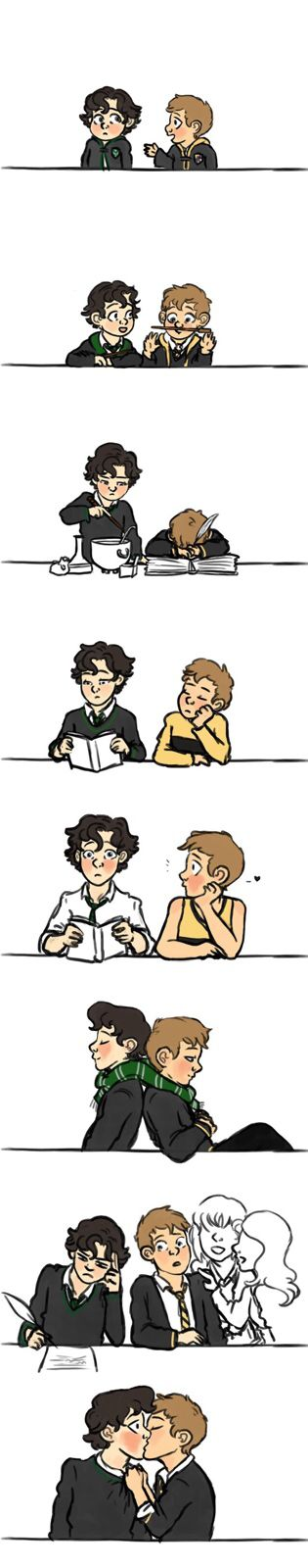 Potterlock!AU but john is obviously in GRYFFINDOR. And sherlock is obviously in ravenclaw. Moriarty, Irene, Mycroft= slytherin. Greg and Molly= hufflepuff. I'm think Mary would be either slytherin or gryffindor...