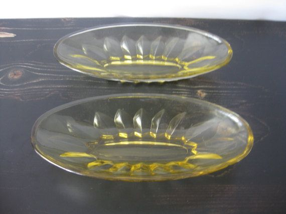 Oval Yellow Depression Glass Serving Dish Set of 2 / Vintage