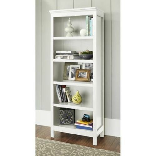 5 Shelf White Bookcase Display Storage Home Office Decor Solid Wood Bookshelf