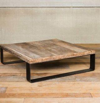 table basse bois et métal                                                                                                                                                                                 Plus