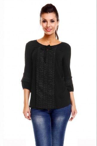 Ασύμμετρη σιφόν μπλούζα με δαντέλα - Μαύρο