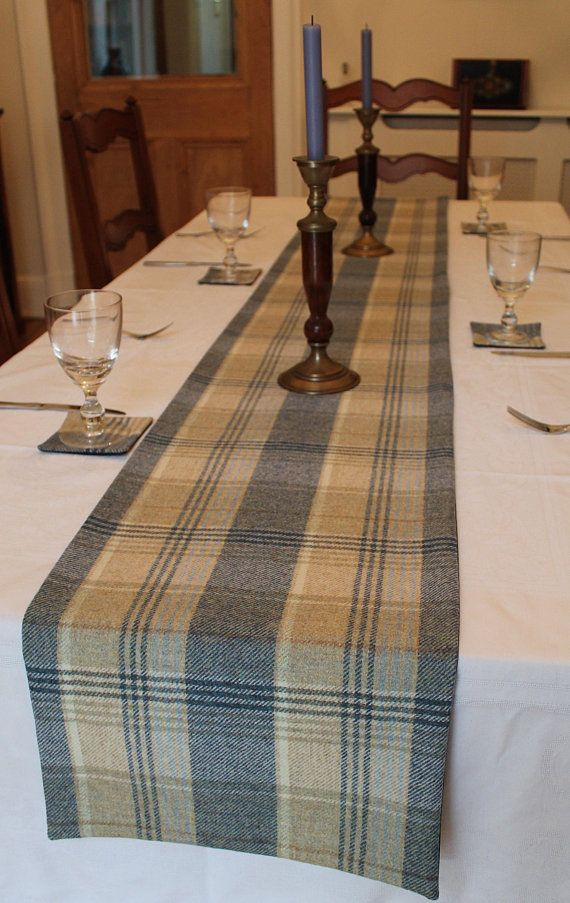 Blue Table Runner Tartan Table Runner Plaid Table Runner Blue