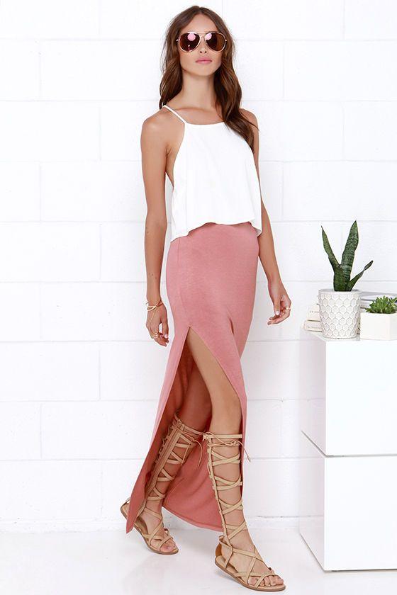 Maxi-mum Power Dusty Rose Maxi Skirt at Lulus.com!