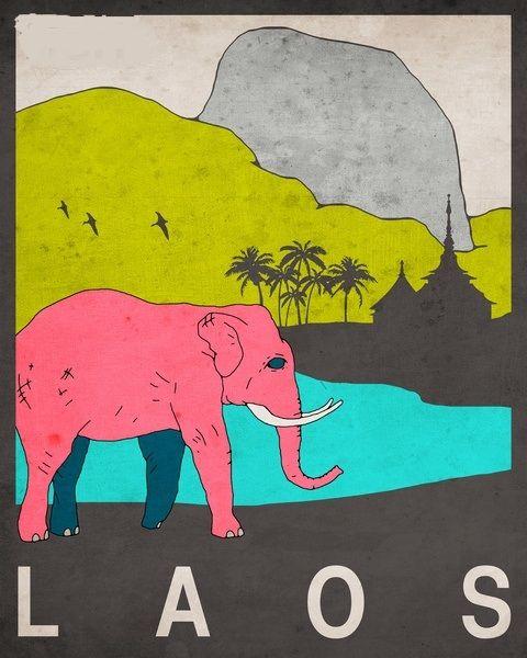 Vintage Travcel Poster - Laos - Asia.