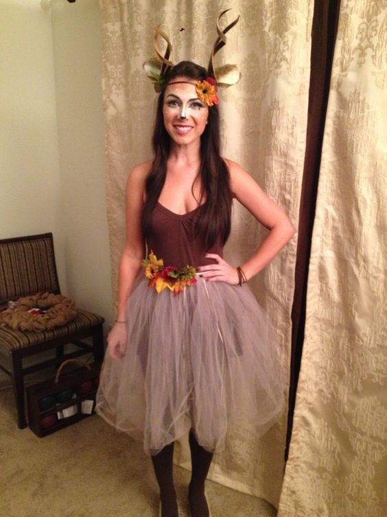 Deer costume - Tank top , tights, and earthy tutu. Halloween costume.