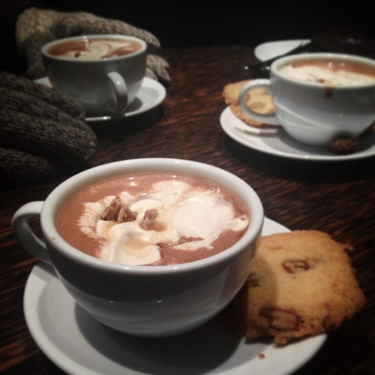 """#57 - """"ohhh Canada"""" hot chocolate at Thierry Chocolaterie (Canadian maple syrup and pecans), served with a sable cookie. Photo by @MarinaLeClair"""