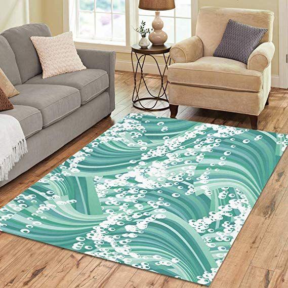 Design Area Rug Wave Green Carpet For Living Room Dining Room