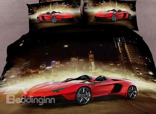 Luxury Sports Car  Print 4 Piece Bedding Sets/Duvet Cover Sets