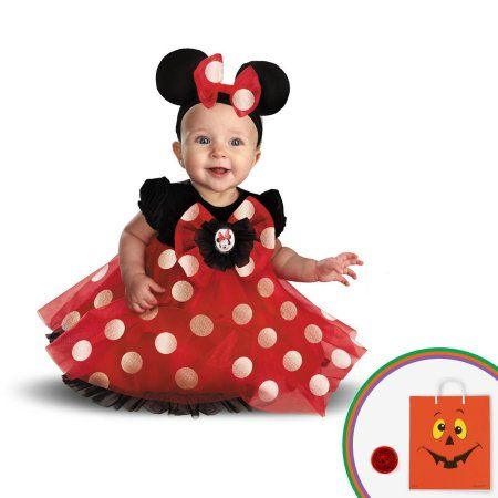 Red Minnie Child Costume Kit with Free Gift, Girl's, Size: 6/12 Months, Black