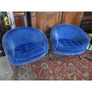 Paire de fauteuils en velours bleu et acier, édition Bernhardt - 1980