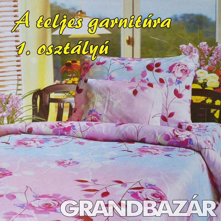 3 részes rózsaszín-kék rózsás ágynemű garnitúra (110)