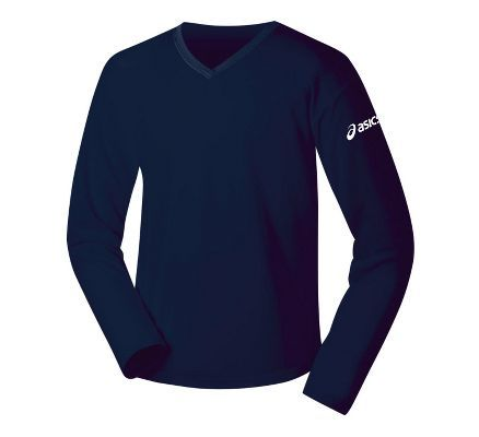 Womens ASICS Circuit-7 Warm-Up med navy Long Sleeve No Zip Technical Tops