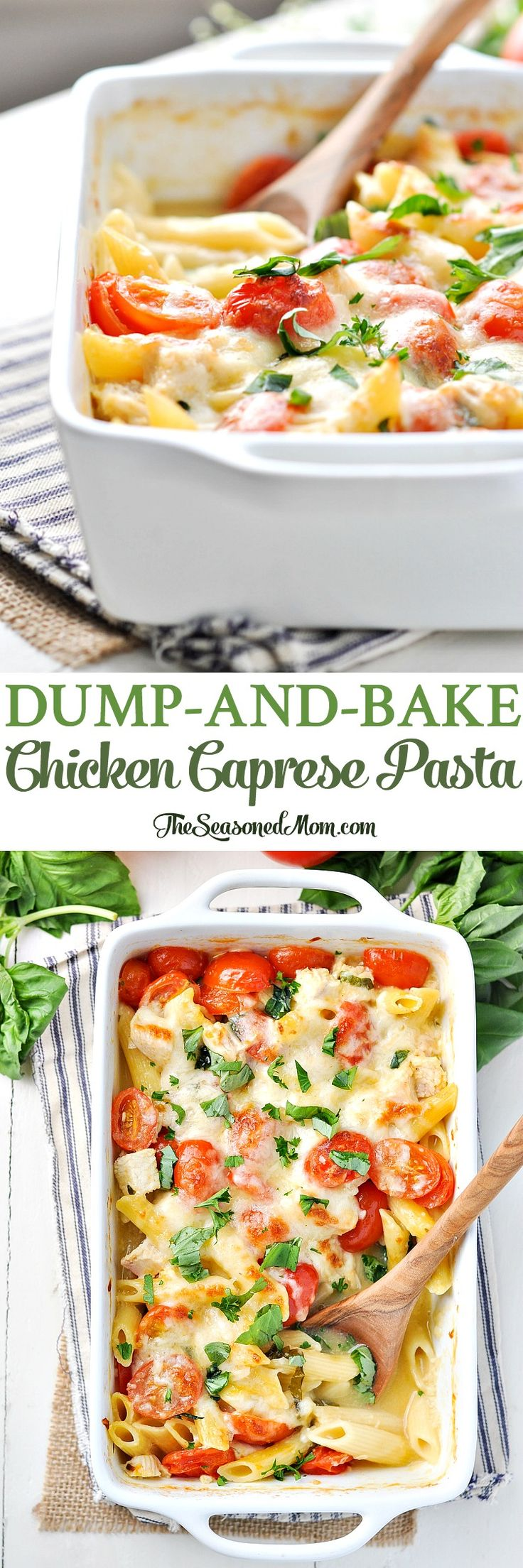 Dump-and-Bake Chicken Caprese Pasta! Easy Dinner Recipes   Healthy Dinner Recipes   Dinner Ideas   Healthy Recipes Easy   Healthy Dinners   Chicken Recipes   Pasta Recipes   Italian Recipes
