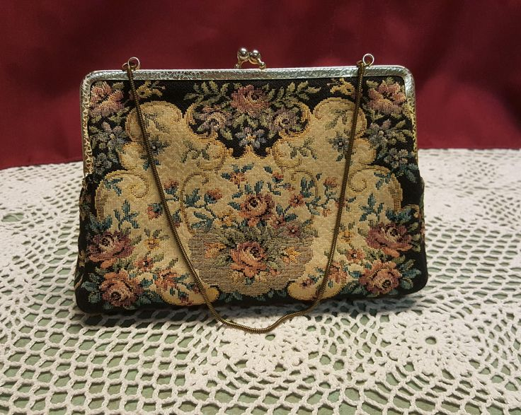 1950s Walborg West German Tapestry Minaudiere Purse, Black Cream Pink Floral Rose, Petit Point Bag, Metal Chain, Clutch, T.V. Movie Prop by AmazingFunVintage on Etsy