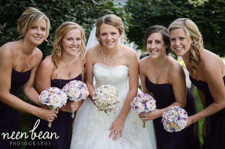purple bridesmaid | brooch bouquet | fall wedding | #neenbeanphotography High Gloss Weddings www.highglossweddings.com
