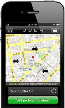 Great way to hire a taxi or car service. Uber