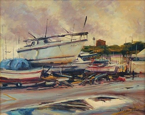 Norman Teeling 'Boats on the Yard' #art #painting #boats #water #NormanTeeling #DukeStreetGallery