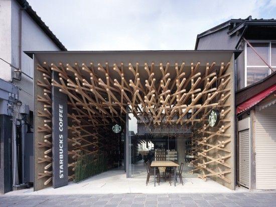 The Starbucks in Fukuoka, Japan. Designed by architect Kengo Kuma.