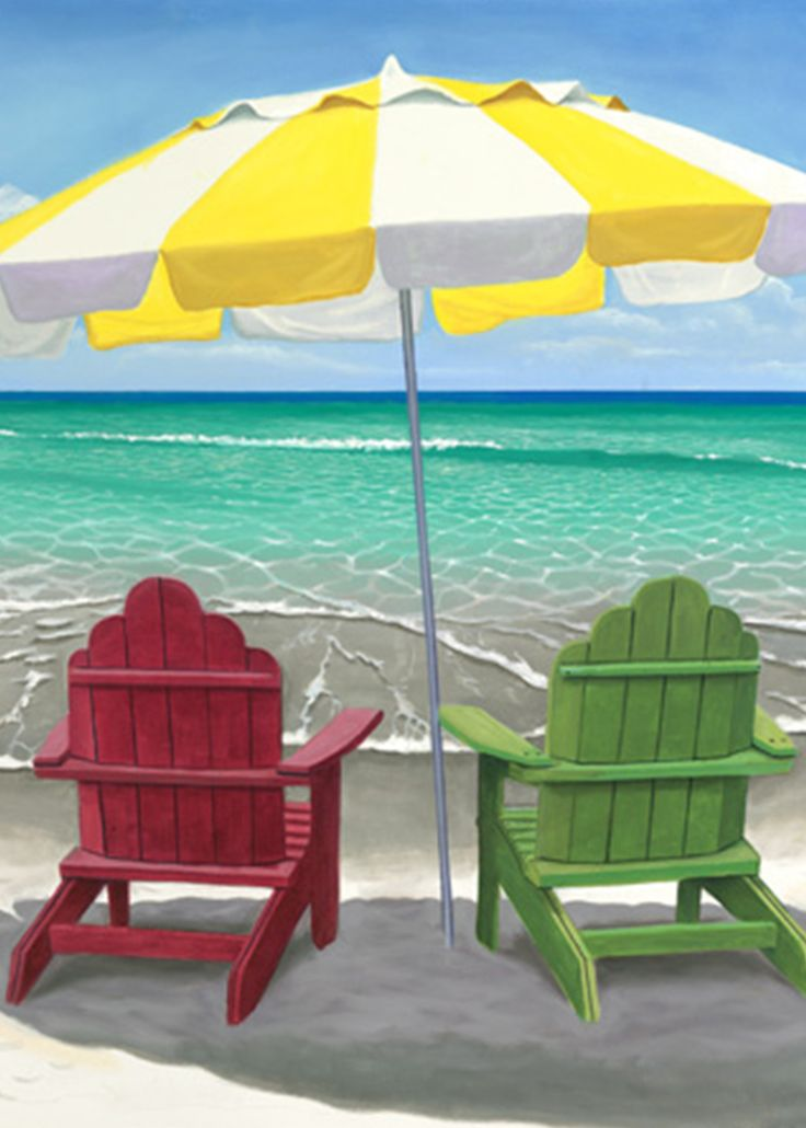'Gone to get Beer'. Two adirondack chairs under a colorful umbrella at the edge of the surf on Anna Maria Island. #beachvibes #beachviews #adirondackchairs #annamariaisland