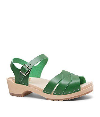 085ae306cd4 #elegantshoegirl #peeptoeheels Awesome Sandgrens Swedish Wooden Low Heel  Clog Sandals for Women | Rio Grande Strong Green, EU 40