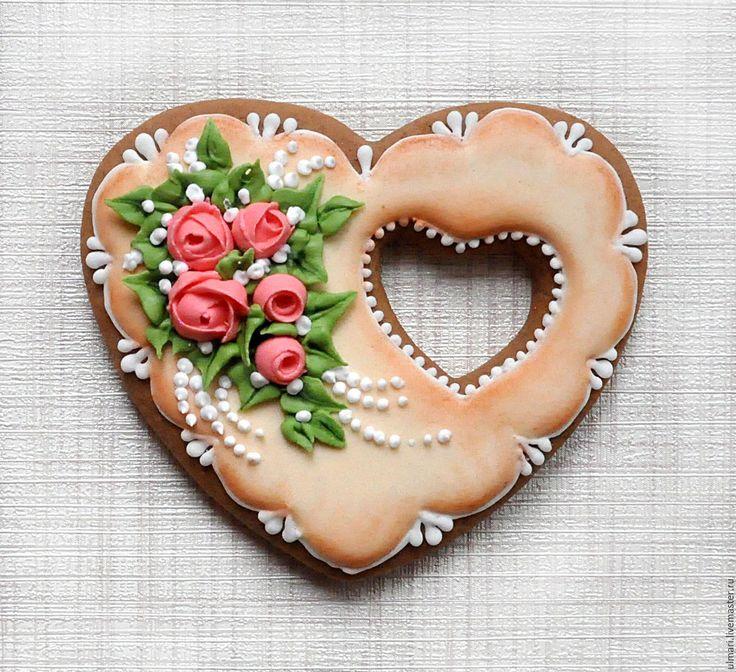 Купить Пряник имбирный Сердце. Кулинарный сувенир - пряничное сердце, пряничный сувенир, Пряники имбирные