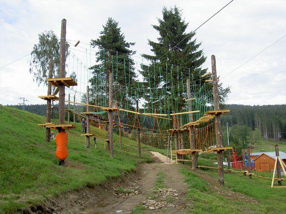 Rope climbing at Lipno nad Vltavou.