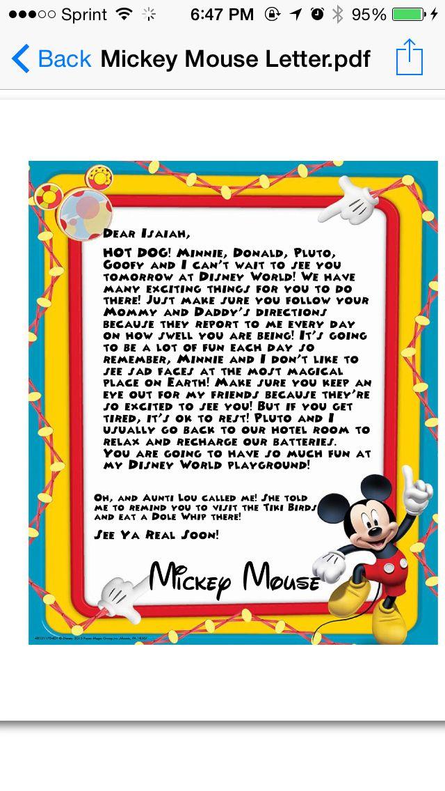 Disney World behavior letter from Mickey