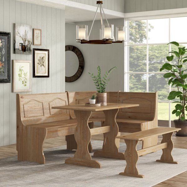 Padstow 3 Piece Solid Wood Breakfast Nook Dining Set Breakfast Nook Dining Set Dining Room Sets Nook Dining Set