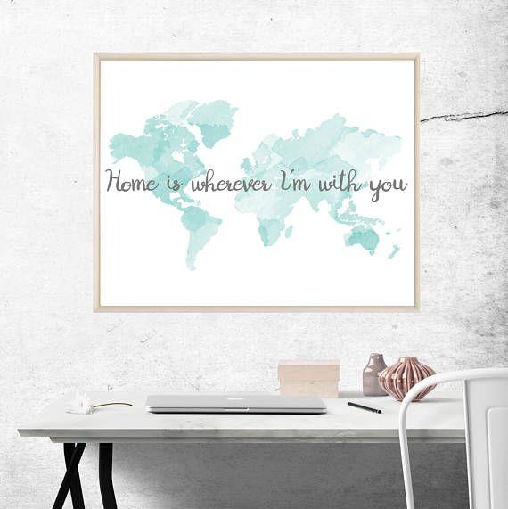 World Watercolor Printable World Wall Decor