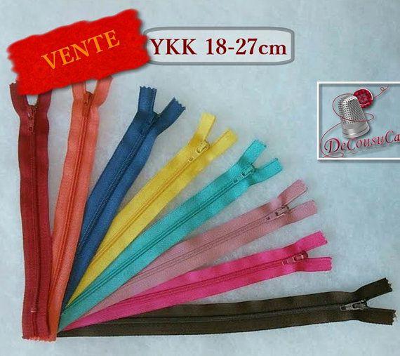 Rabais 50%, 8 Fermetures éclairs YKK, 18-27cm, couleur variée, en nylon, pour pochettes, vêtement, réparation, non détachable