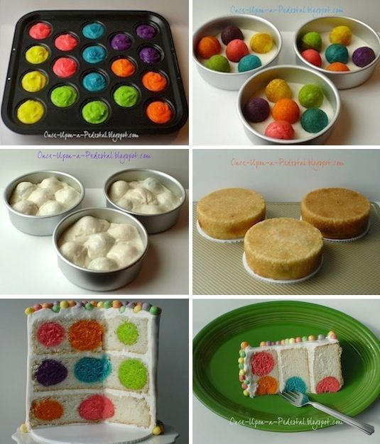 Polka Dot Cake This is where a cake pop pan really comes in handy! Use one to create colorful balls of cake, and then bake them inside of a white cake mix. I could see doing this for a gender reveal party; use strawberry cake balls for a girl and blue velvet for a boy.