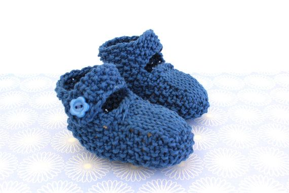 Navy Blue Booties Newborn Booties Cute Shoes Baby by Pinknitting