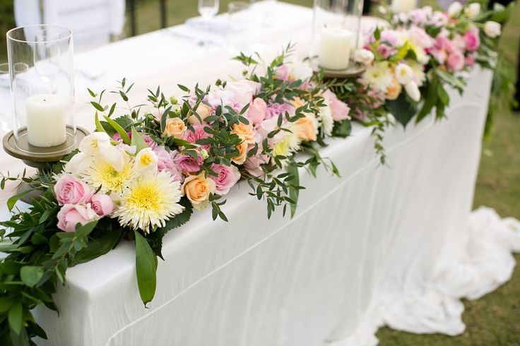 Flower Garland stretched across Bridal Table