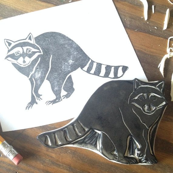Raccoon Hand Carved Stamp by EnchantingStamps on Etsy