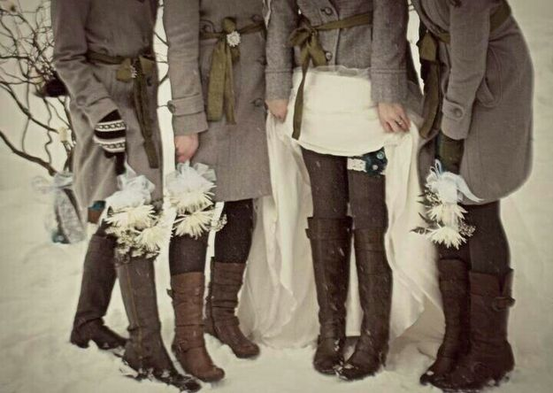 Maybe? bridesmaids?  Have Bridesmaids Boots for a Cold Weather - 21 Creative Winter Wedding Ideas