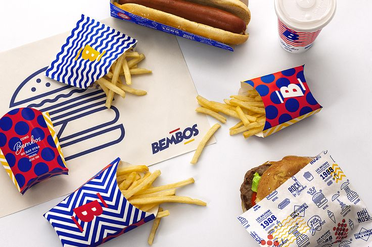 Spots and stripes identity system for peruvian burger brand Bembos