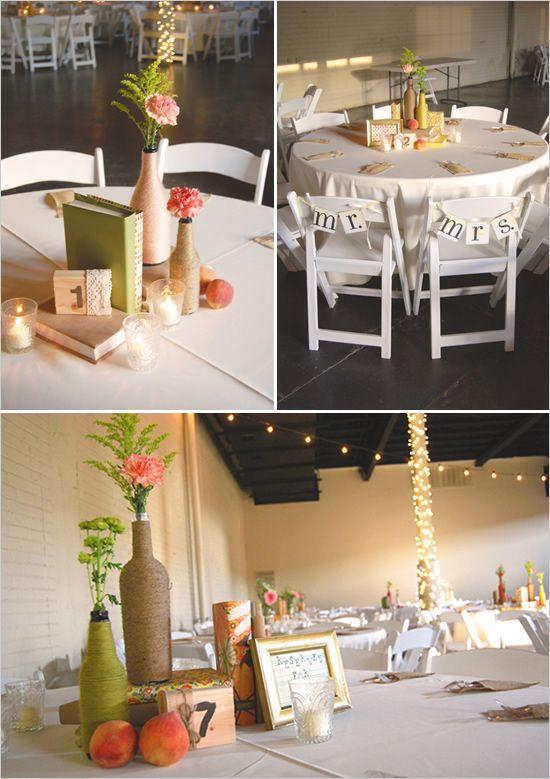 rustic DIY wedding decor  coral, peach, green  Rubinson wedding- 809 at Vickery, FW TX- decor by Mayhar Design