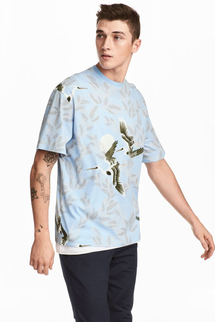 Patterned T-shirt - Light blue/Birds - Men | H&M