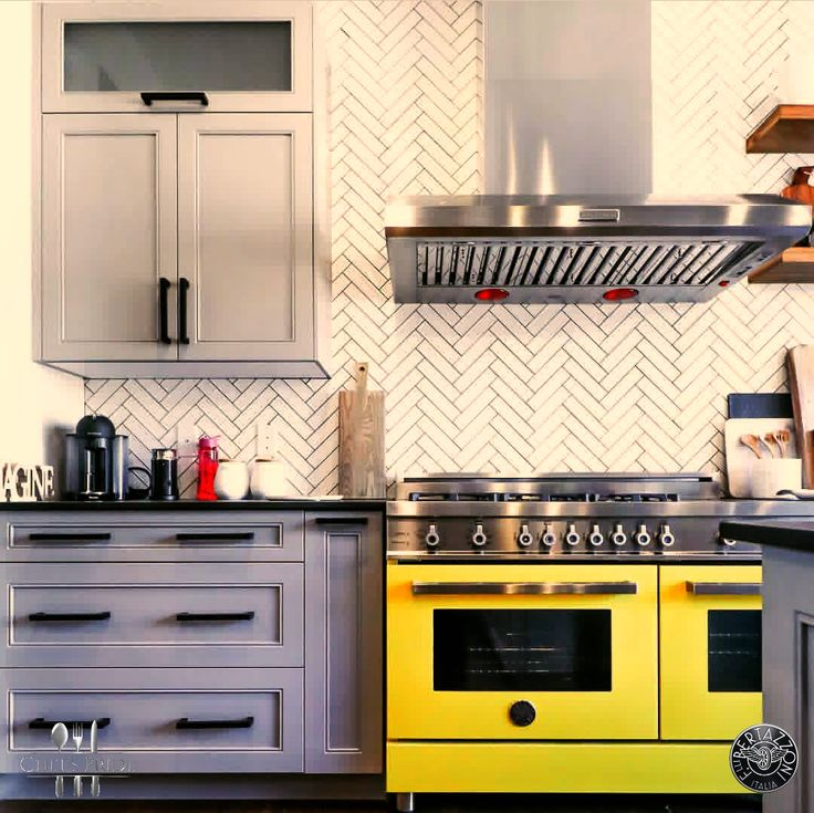#Lamborghini yellow #Bertazzoni #Professional stove complemented by a striking herringbone tile! All the stove you'll ever need! To locate a dealer near you, or online, click here: http://www.chefspride.co.za/contact-us/