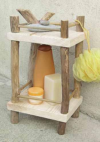 Here's an earthy set of shelves that will look clean and fresh in your bathroom or kitchen. It can be a spice rack, a plant holder, a display shelf for pretty objects or a useful shelf to hold toiletries.