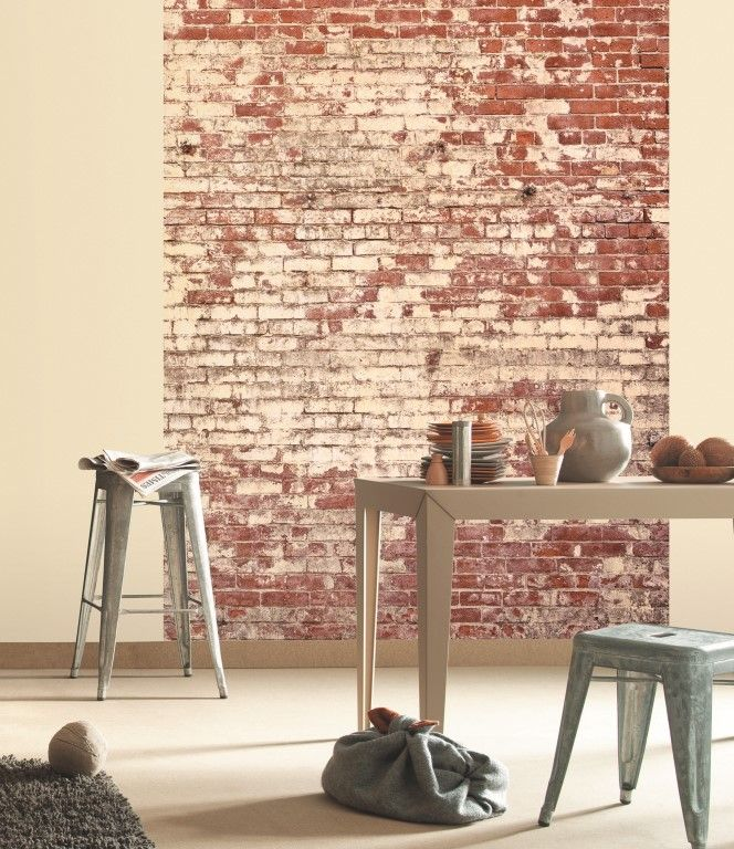 This industrial style, rough painted brick wall mural adds great character to this room. From the Trendy Panels collection, Brique TDP63679665. This is a Guthrie Bowron exclusive range in NZ.
