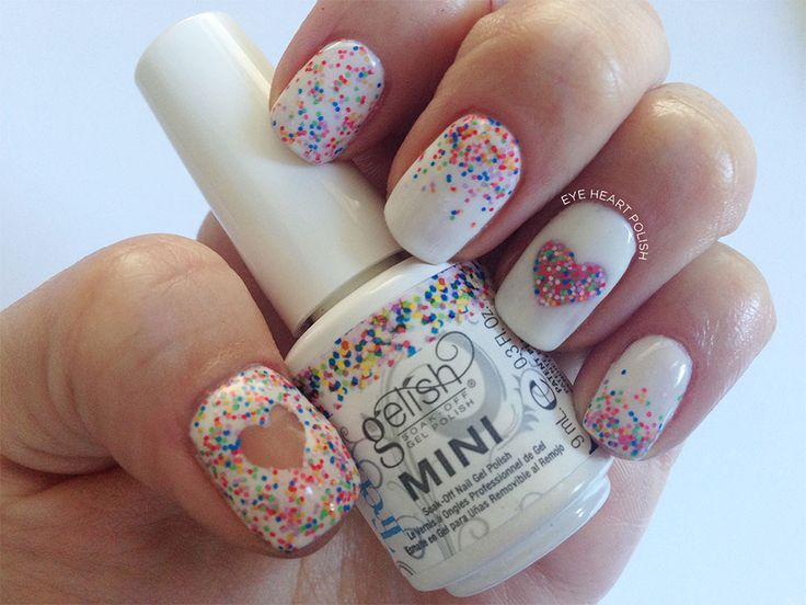 40 best confetti nail art manicura confeti images on - Decoracion de unas gel ...