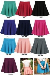 Wish   cotton-blend Women Candy Color Stretch Waist Plain Skater Flared Pleated Mini Skirt