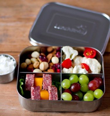 With four compartments, LunchBots Quad Stainless Steel Food Containers deliver variety: nuts, grapes, cheese and pretzels; apple wedges, pasta, broccoli and meatballs; olives, cucumber slices, berries and sandwich quarters. Whatever the menu, LunchBots make meals more appetizing, helping ensure your food containers return home empty.