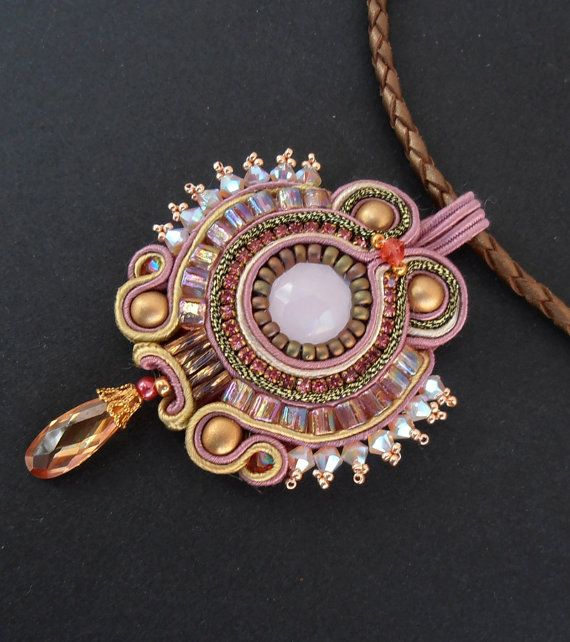 Pink and Gold Soutache beaded pendant by Cielo Design