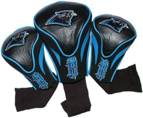 NFL Carolina Panthers 3 Pack Contour Fit Headcover by Team Golf. $29.99. 3 location team embroidery. 3 stylish contoured head covers made of buffalo vinyl and synthetic suede like materials numbered 1,3 and X. The #1 fits all oversized drivers and the nylon sock protects shafts from damage. NFL Carolina Panthers 3 Pack Contour Fit Headcover